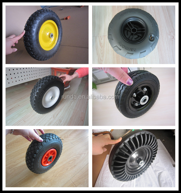 6inches pu foam wheel with steel rim and ball bearing
