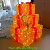2015 new Acrylic LED gift box motif light Christmas decorations light for indoor or outdoor