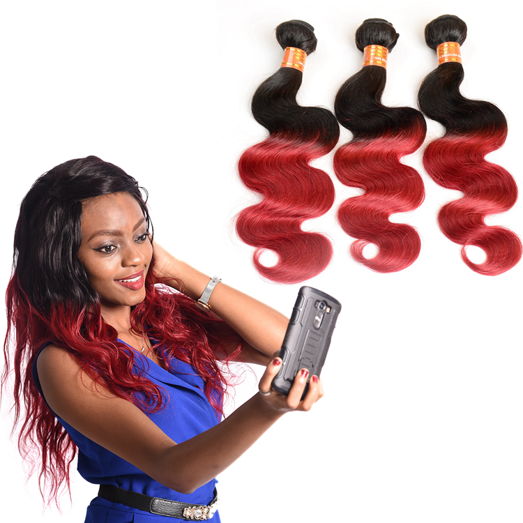 1b Red Colored Brazilian Two Tone Hair <strong>Weave</strong> for Black Women