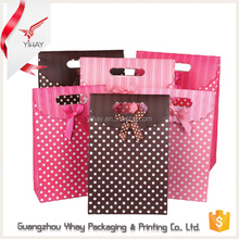 2015 China Popular handle bag design customized colorful small dot cute paper gift bag