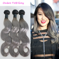 Ombre 1b grey remy human hair weave unprocessed raw brand name human hair