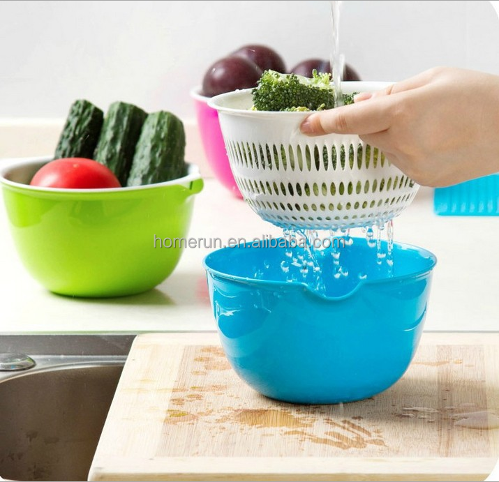 Double mini drain basket creative kitchen household dish draining basket plastic basket of fruits and vegetables