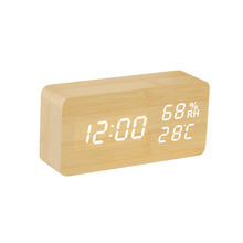 White LED desktop wooden alarm clock with temperature and humidity
