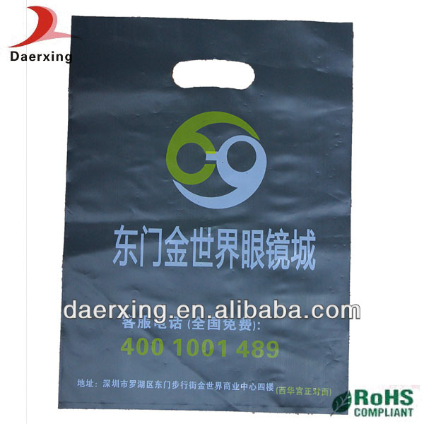 Custom printing hdpe die-cut handle bags