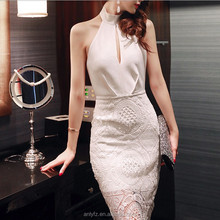 Wholesale New Arrival Women Lace Backless Package Hip Wedding Party Dress