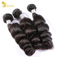 Top quality unprocessed 9A grade raw brazilian hair bundles loose wave hair