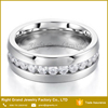 Fashion Stainless Steel Band Channel Set Cubic Zirconia Wedding Eternity Rings