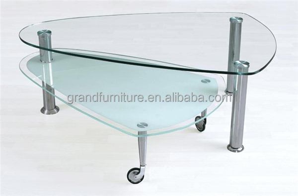 Extendable cheap price glass coffee table glass furniture with wheels