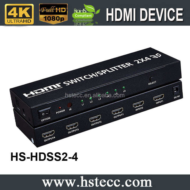 2 Input 4 Output HDMI Switch Splitter Support 1080P /60HZ/ 3D