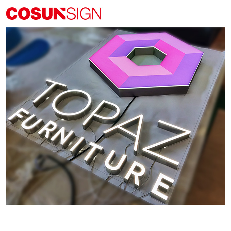 Cosun Custom Your Own Brand Led Acrylic Light Brush Steel Letter Metal Logo Design