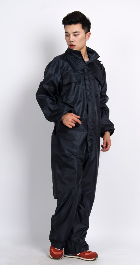 Customer PVC printed fashion high quality reflective polyester jumpsuits raincoats