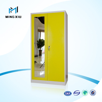 Mingxiu bedroom furniture wardrobe with mirror / 2 door clothing steel locker/wardrobe