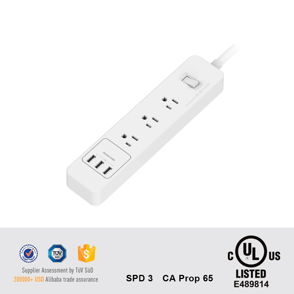 110V Electrical Power Bar 3 AC Sockets US Surge Protector with USB