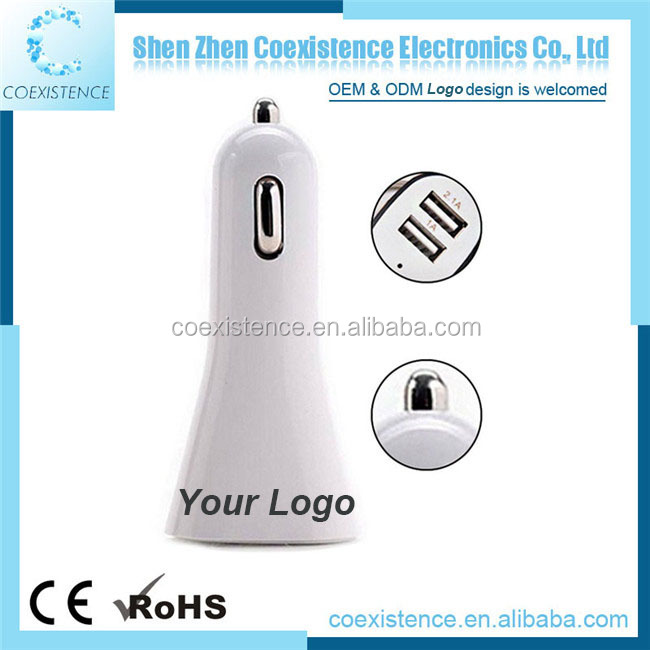 car phone charger for charging station 12v 2.1A print Logo hot sale high quality Mini dual USB port car charger