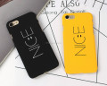 "Fashion ""Nice"" Yellow Black Phone Back Hard PC Cover For iPhone 7 7plus Funny Nice Emoji Case For iPhone SE 6s plus Cellphone"