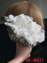 Wholesale ivory veil fabric double flower design bridal hair clip hair accessories