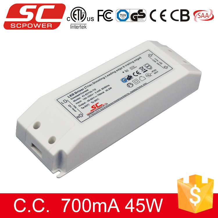 SC LED driver Triac dimmable 45w 40-65v 700ma ip20 dimmable constant current 45w led driver 700ma with TUV