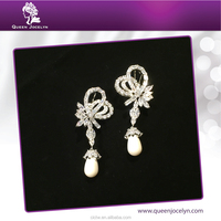 Luxury Design Artifical Pearl Dangle CZ Large Earrings for Wedding Fashion Jewelry