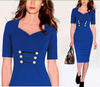 New Style Thin Fashion Women Elegant Short Sleeve Six Buttons Pure Color High-end Charming Casual Bodycon Pencil Dress