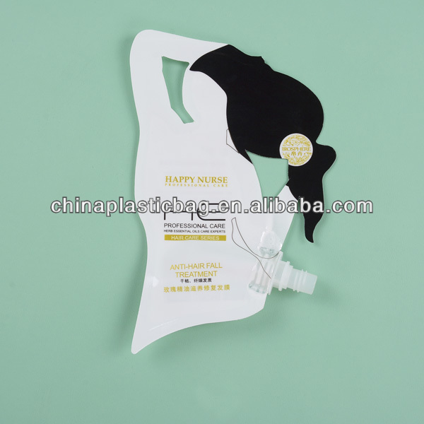 Eco-friendly Plastic Standing Pouch Bag with Nuzzle for Liquid /Beverage packing bag with pouch top (zz112)