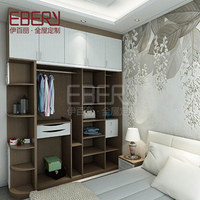 Modern style living room wood clothing wardrobe with waist line