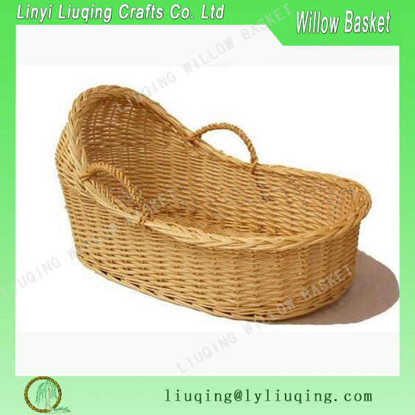 Antique Handmade Willow Wicker Baby Basket With Handle
