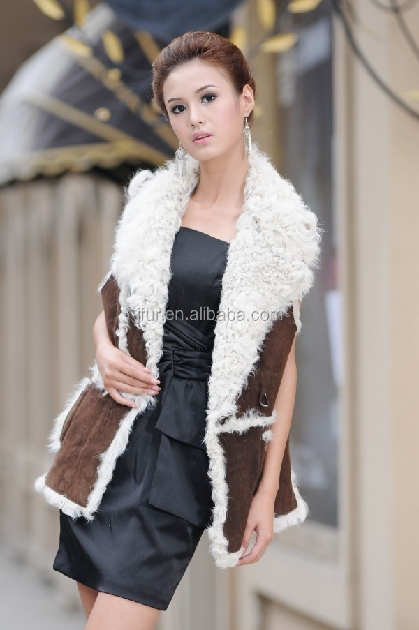 New Women Winter Double Face Mongolian Lamb Fur Vest Genuine Lamb Vest