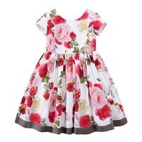 Girls Floral Dress Summer 2017 Brand Reine Des Neiges Costume Princess Dress with Bow Kids Dresses for Girls Clothes