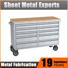 42 inch 9 drawers roller tool cabinets stainless steel tool chest with wood top