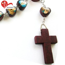 Catholicism perfume rose scent heart-shaped olive wood beads rosary necklace