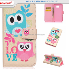 OEM painting card slot flip pu leather phone case for samsung galaxy s3 s4 s5 mini sA s6 s7 edge plus edge+