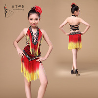 L00580 new arrival children girl latin dance dress cheap kid latin dance dress