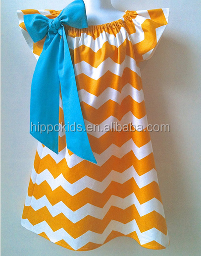 Hot sale baby butterfly sleeve dresses cotton orange chevron dress bowknot summer 2016 girls clothes