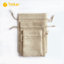 Factory wholesale Custom gift burlap small jute drawstring bag