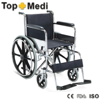 TOPMEDI hot sale steel frame MAG wheel hospital manual wheelchair