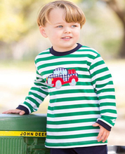 Kids Green and white stripes boys long sleeve t shirt with truck appliqued