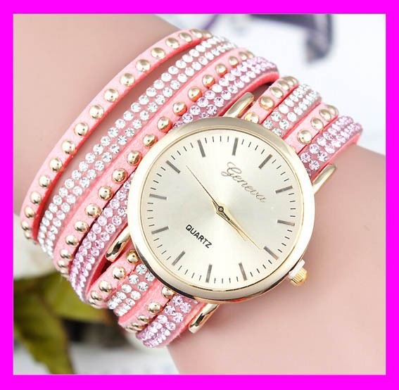 Fashion women pink crystal leather wrap geneva wrist watch wholesale HD1902