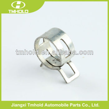 Pre-opened stainless steel spring hose clamp with T-clip