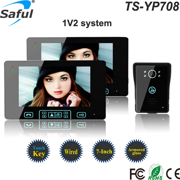 Hot selling Saful 7 inch color touch key multi apartment video intercom system