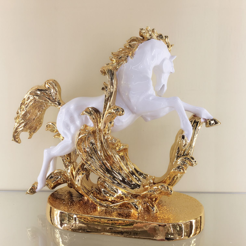 New year home decor craft customized animal figurine resin horse statue for office