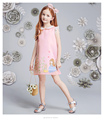 Polyester children girls summer princess dress up costumes sweet printed summer kids one piece wear wholesale clothing