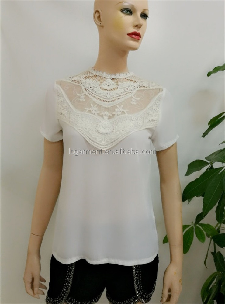 Wholesale white Sleeve White chiffon loose ladies Tops with polo neck lace Tunic