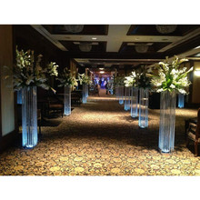 lighted metal aisle pillars/ flower stands /crystal stands for weddings with rechargeable battery