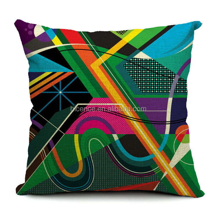 Geometric Style Cotton and Linen Colorful Cushion Cover