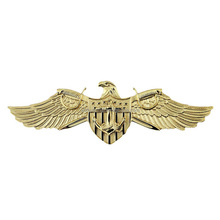 wholesale eagle wings design 3D gold plating zinc alloy pin badge
