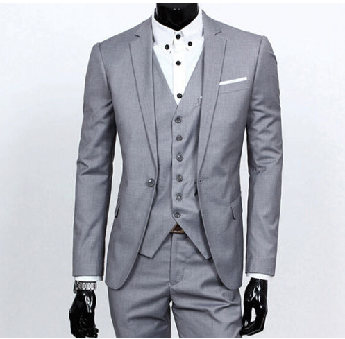 Men Slim Fit Wedding Suits Fashion One Button Jacket + Pants