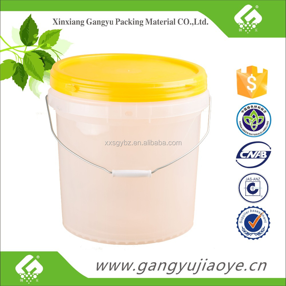food grade 5 gallon clear plastic paint bucket
