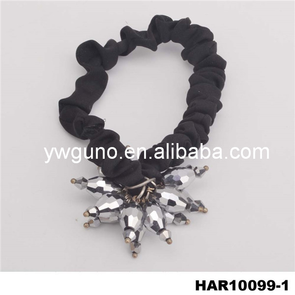 fashion silver glass charm black satin hair accessory