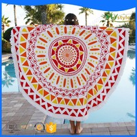 100% cotton custom printed logo round beach towels for wholesales