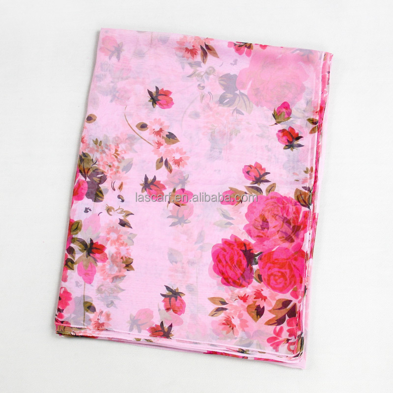 Printed pink chiffon scarf beautiful girl's scarf made in china on sale